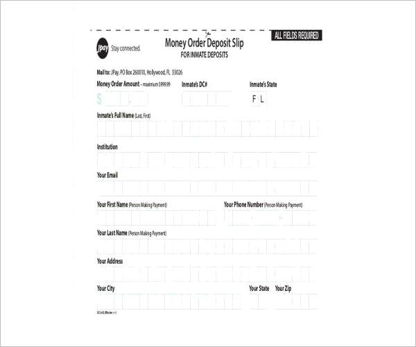 Money Order Deposit Form Template