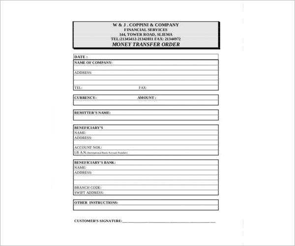 Money Order Form Download