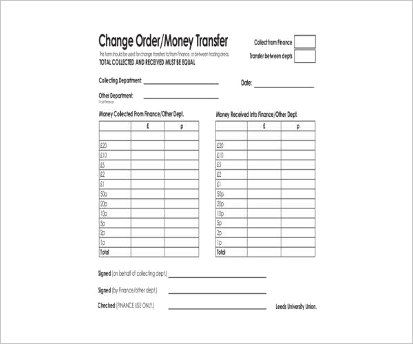 Money Transfer Order Form PDF