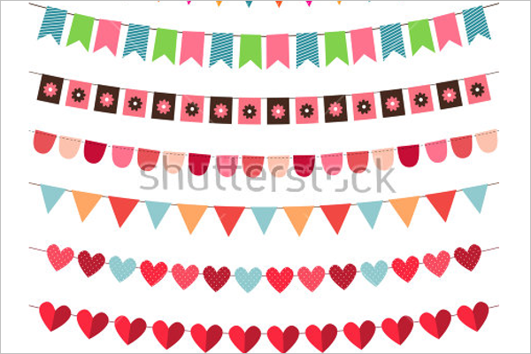 Multi Color Pennant Banner Template