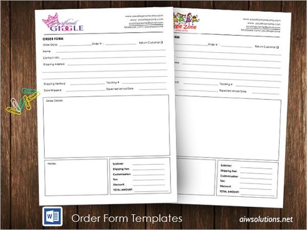 Package Order Form