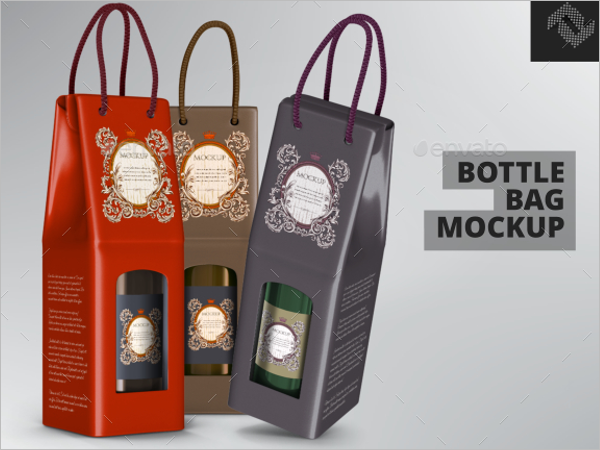Paper Bottle Bag Mockup Design