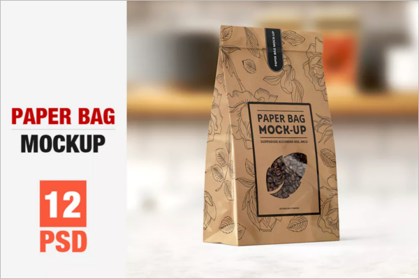 Paper Kraft Bag Mockup Design