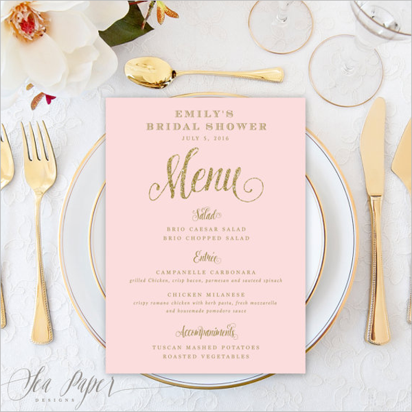 Party Event Menu Card Template