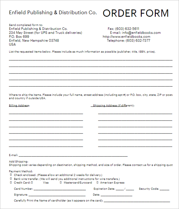20  package order forms free word  excel templates