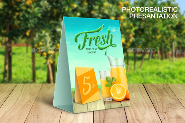 Photorealistic Table Tent Card Mockup Template