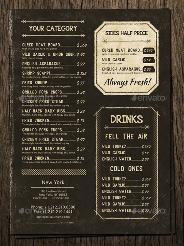 Photoshop Vintage Menu Design