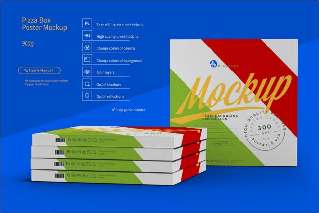 Pizza Box Mockup Clean Design