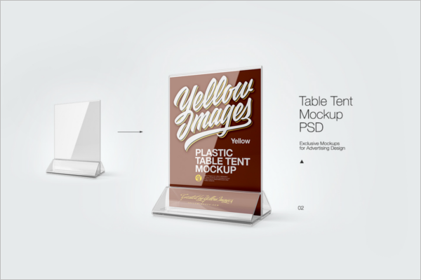 Plastic Table Tent Card Mockup Template