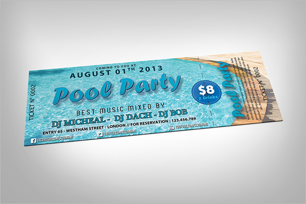 Pool Party Ticket Mockup Free Design
