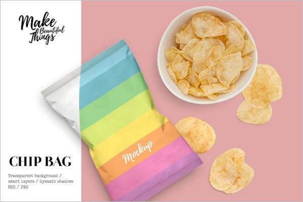 Potato Chips Bag Mockup Design