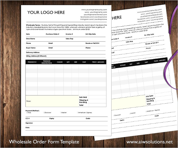 Printable Retail Order Form MS Word