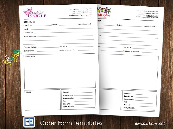 Printable Retail Order Form Template