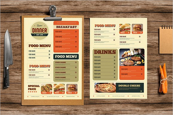 Printable Retro Menu Design