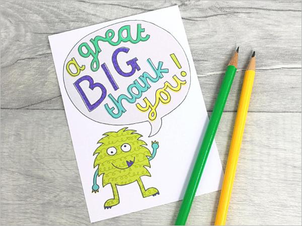Printable Thank You Note Card Design