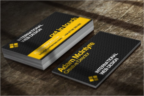 Printable Yellow Business Card Template