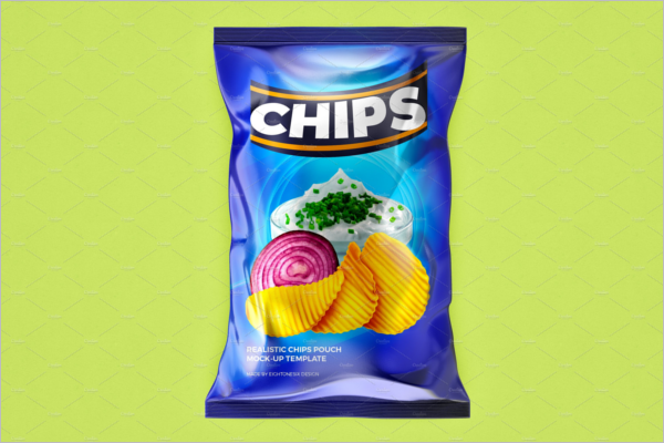 Realistic Chips Pouch Mockup Design