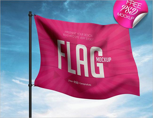 Realistic Flag Mockup Template