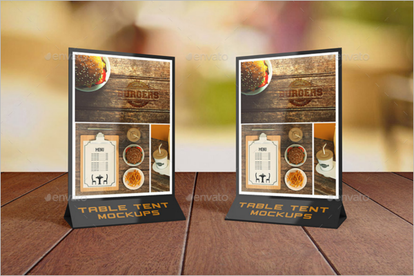 Realistic Table Tent Card Mockup