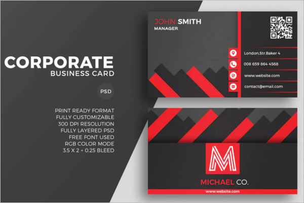 Red Corporate Business Card Design