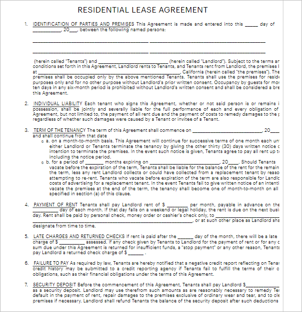 5 Residential Lease Agreement Doc