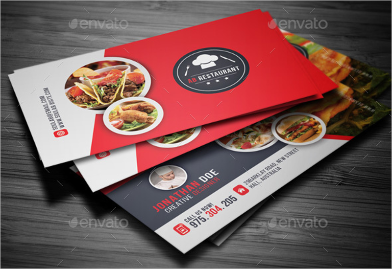 restaurant food business card template