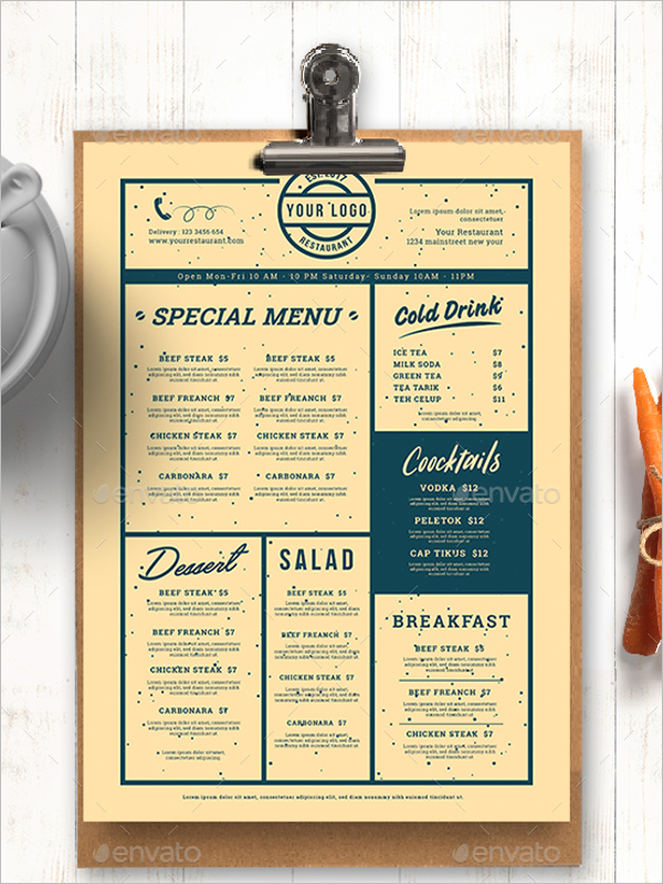 Restaurant Vintage Menu Design