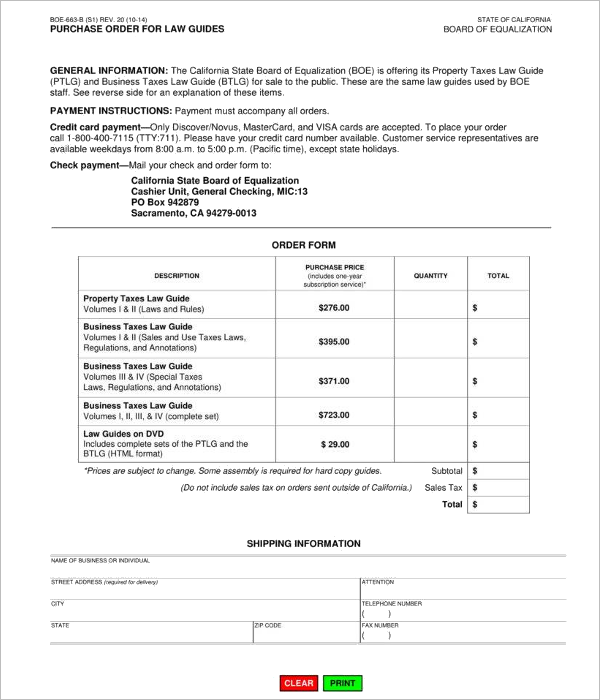 Retail Book Purchase Order Form