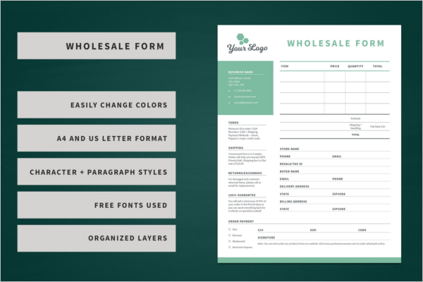 Retail Order Form Template