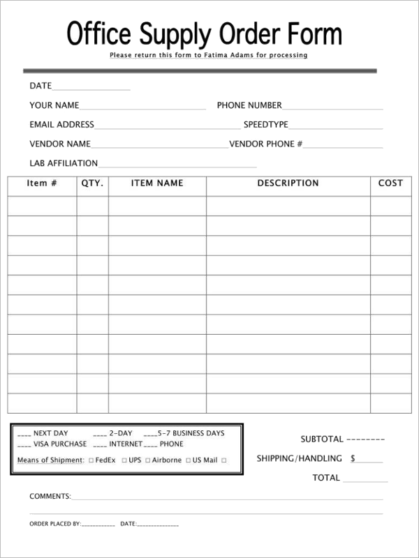 Retail Purchase Order Form Template