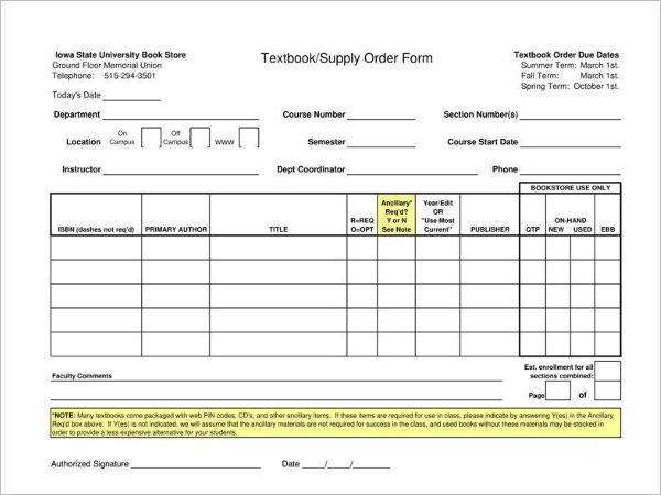 Retail Supply Order Form Template