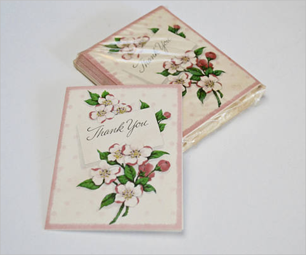 Retro Floral Thank You Card