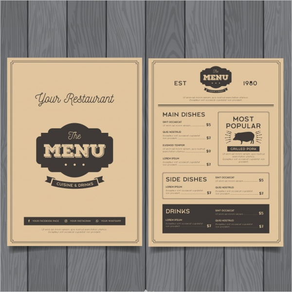Retro Menu Design Download