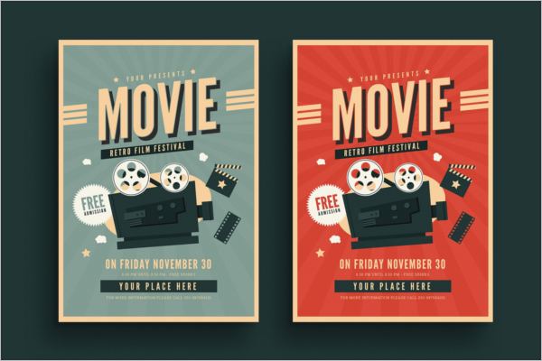 Retro Movie Flyer Template