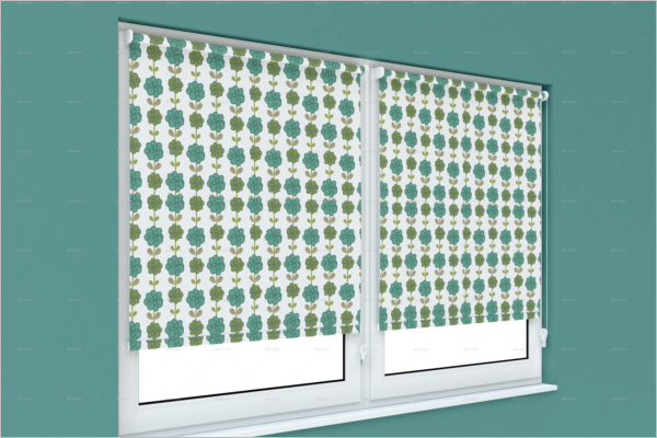 Roller Curtain Mockup Template