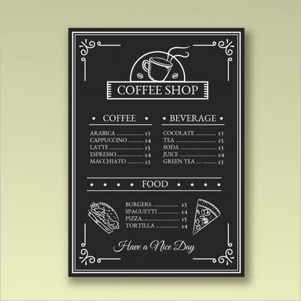 Sample Cafe Menu PSD Design