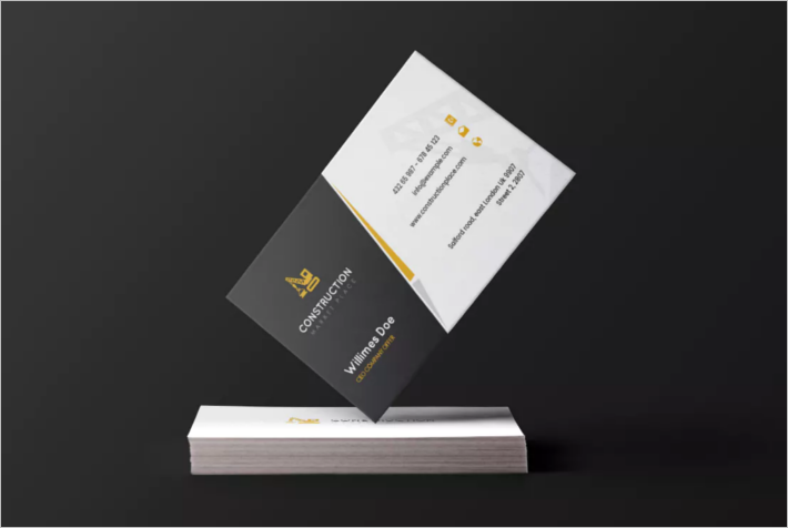 Sample Construction Company Business Card Template