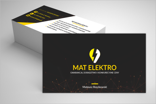 Sample Electric Company Business Card Design