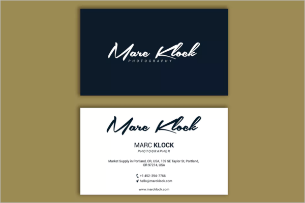 Sample Photography Business Card Design