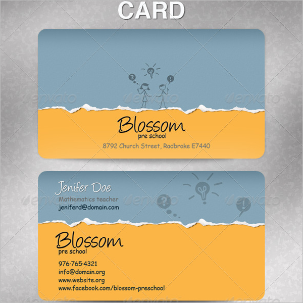 Teacher Business Card Templates Free PSD Designs - Teacher business card template