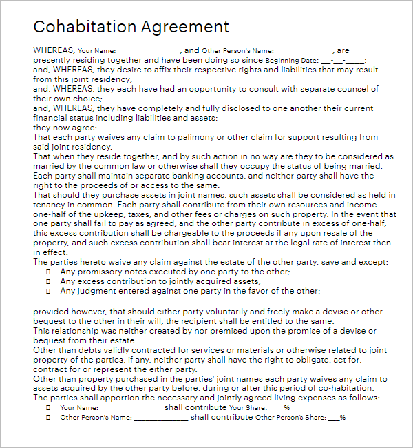 Separation Agreement Form Template