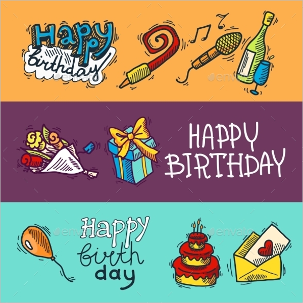 Set Of Birthday Banner Template