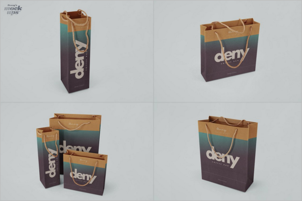 Set Of Paper Bag Design Mockup