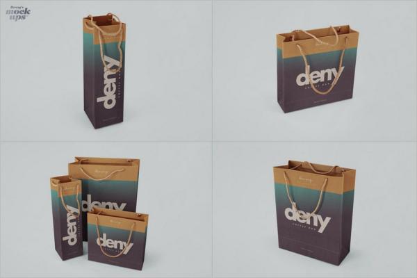 Set Of Paper Bag Design Mockup