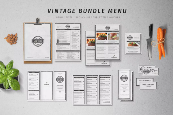 Set Of Retro Menu Design