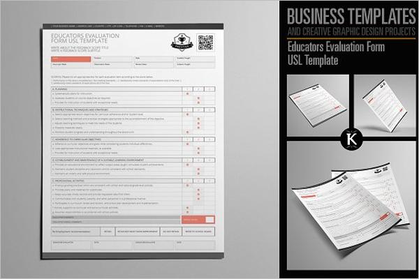 Set Of Teacher Evaluation Form