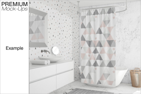 Shower Curtain Mockup Design