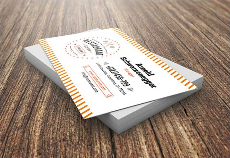 Simple Restaurant Business Card Templates