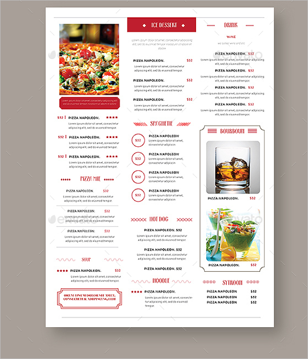 Simple Vintage Menu Design