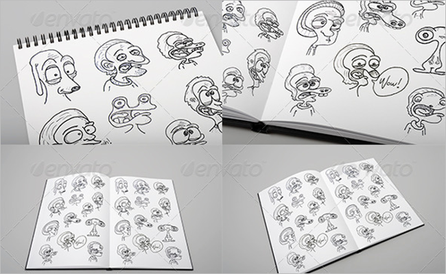 Sketchbook Mockup Custom Template